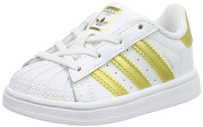 adidas Superstar Sneakers Baby Schuhe Unisex Weiß mit gelben Streifen
