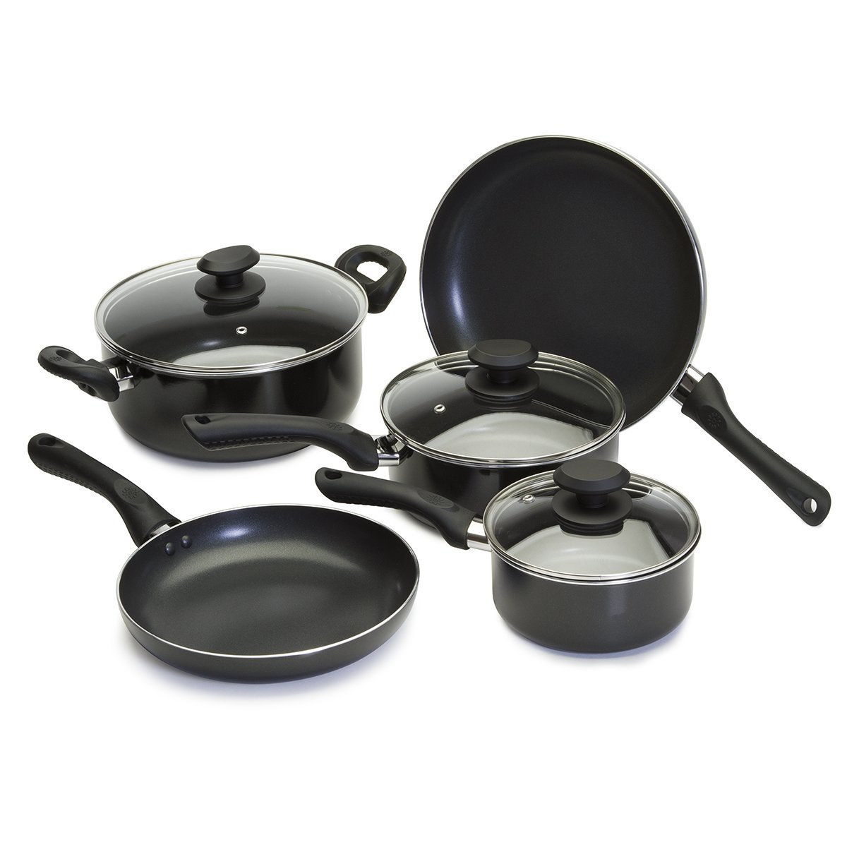 Ecolution EABK-1208 Artistry Cookware Set Nonstick, 8 Piece, Black