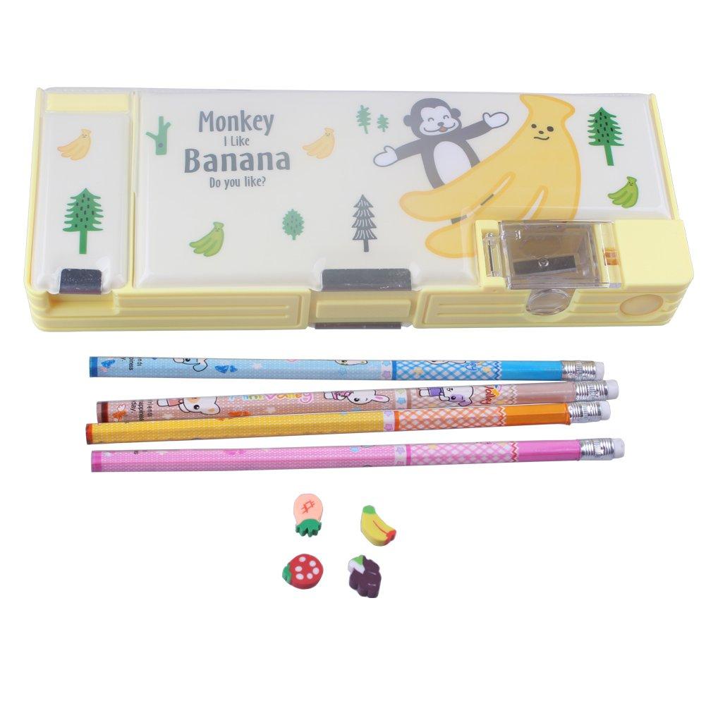 Astuccio per la scuola rigido in plastica blu unisex, con matite, gomma e temperino, set di cancelleria da regalo KimmyKu