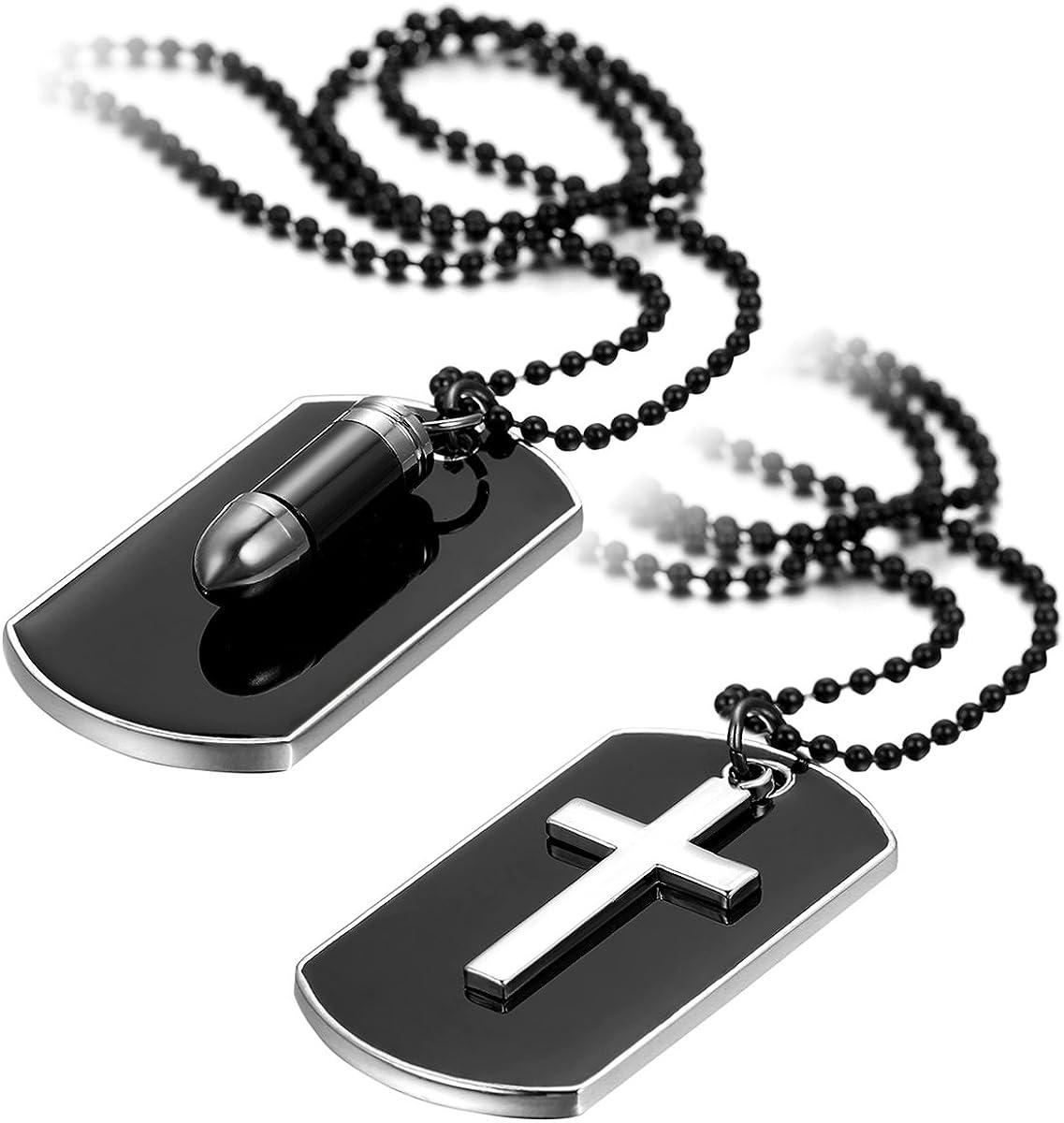 Oidea 2pcs Assorted Mens Black Biker Cross Bullet Dog Tag Pendant Necklace,27 Chain
