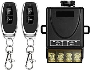 DONJON Wireless Remote Switch with 328ft Long Range DC 12V/24v/48v/72V Switch for Anti-Theft Alarms, Security Systems Roller Lind Door,Gate Barriers, Motor Cycles etc (Two Remote Controls)