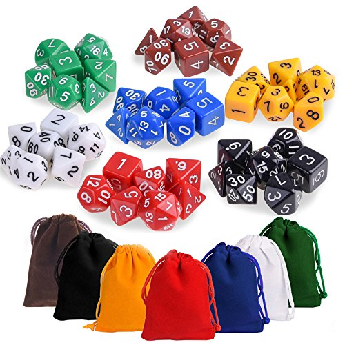 Kuuqa 7 x 7 (49 pcs) Polyhedral Game Dice Set 7 Color Complete set for Dungeons and Dragons DND D&D MTG RPG Card Games D% D20 D12 D10 D8 D6 D4 with Dice Bags (Sets Dice D20)