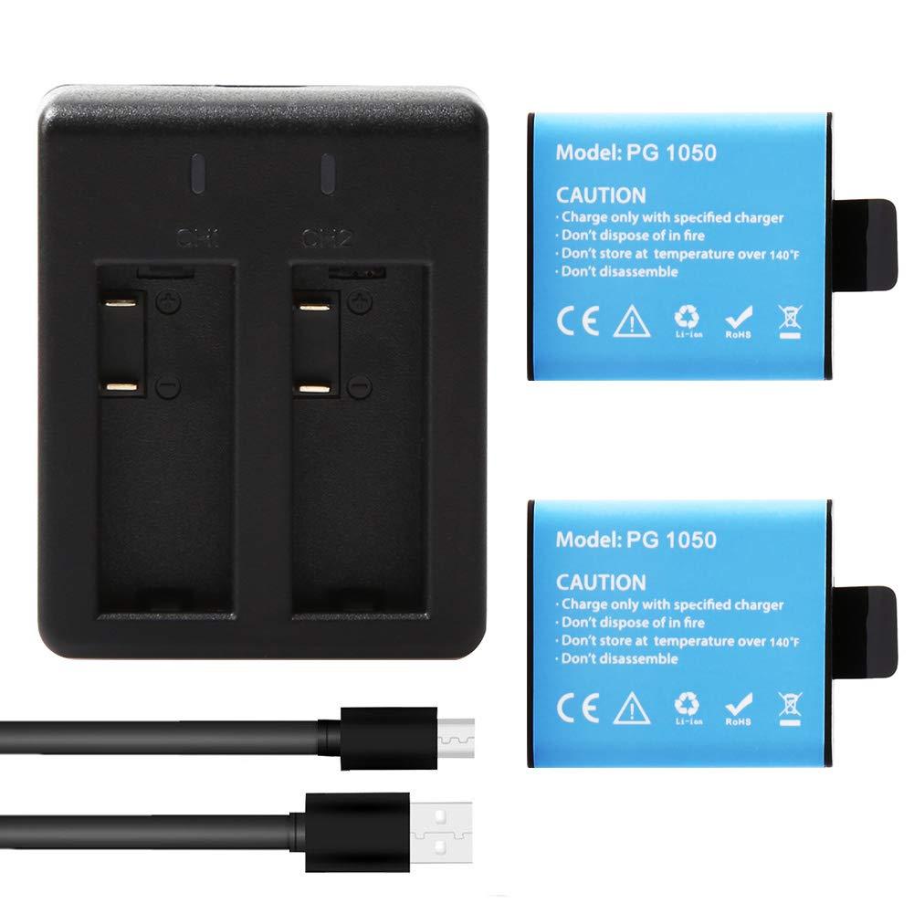 AKASO 2 x 1050mAh Batería con Dual USB Cargador Batería ...