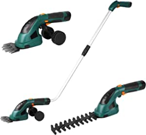 Gizcam Hedge Trimmers Cordless with Battery-powered, Grass Trimmers, Shrub Trimmers, Weed Trimmer, 2 in 1 Cordless Grass Shear with Battery 7.2V 2000mAh, including Telescopic Handle and Running Wheels