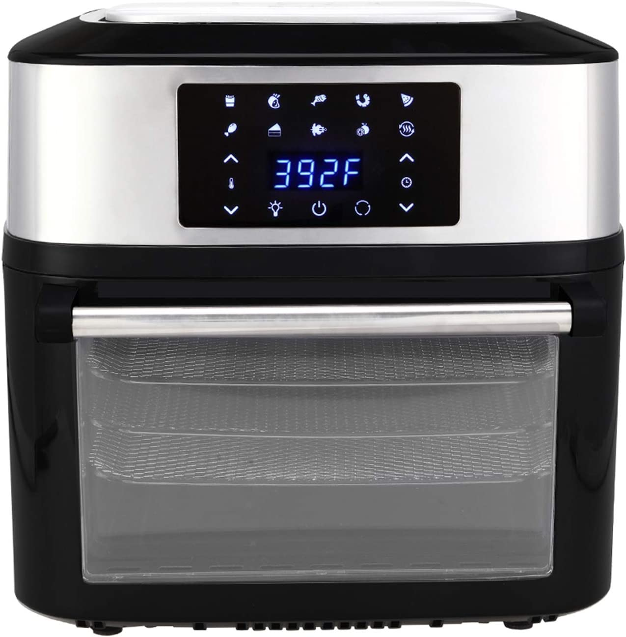 Air Fryers,8-in-1 Digital Air Fryer,Large 17 Quart 1800W Oven with Touch Control Panel for Commercial and Home Use 120V / 60Hz (black)
