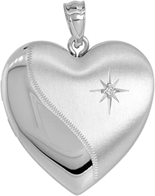 925 Sterling Silver w// Diamond Star Design Heart Locket Charm Pendant Holds 2 Photos