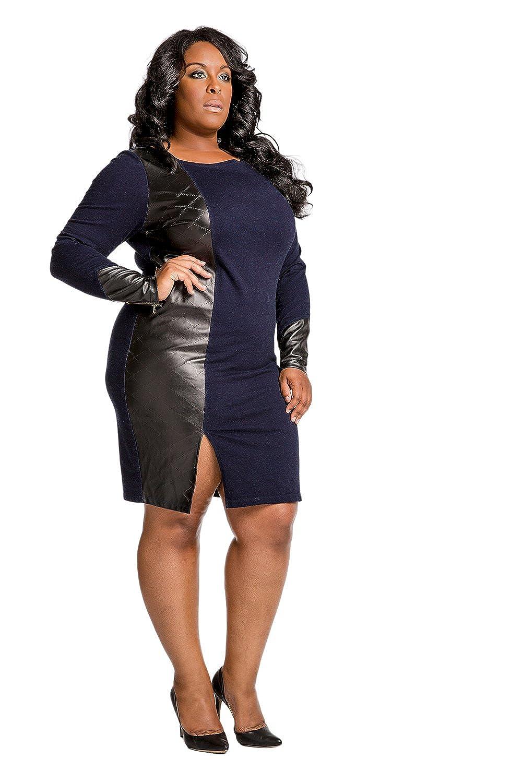 Poetic Justice Plus Size Curvy Women\'s Indigo Knit Vegan Leather ...