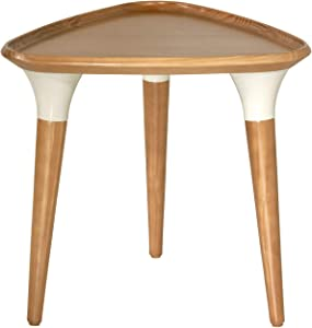"Manhattan Comfort HomeDock Mid Century Modern Triangular Living Room Side Table, 20.47"", Cinnamon"