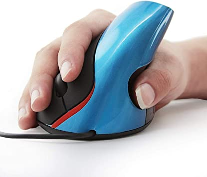 Vertical Optical Ergonomic Mouse Wired, Blue Designed for Natural Comfort
