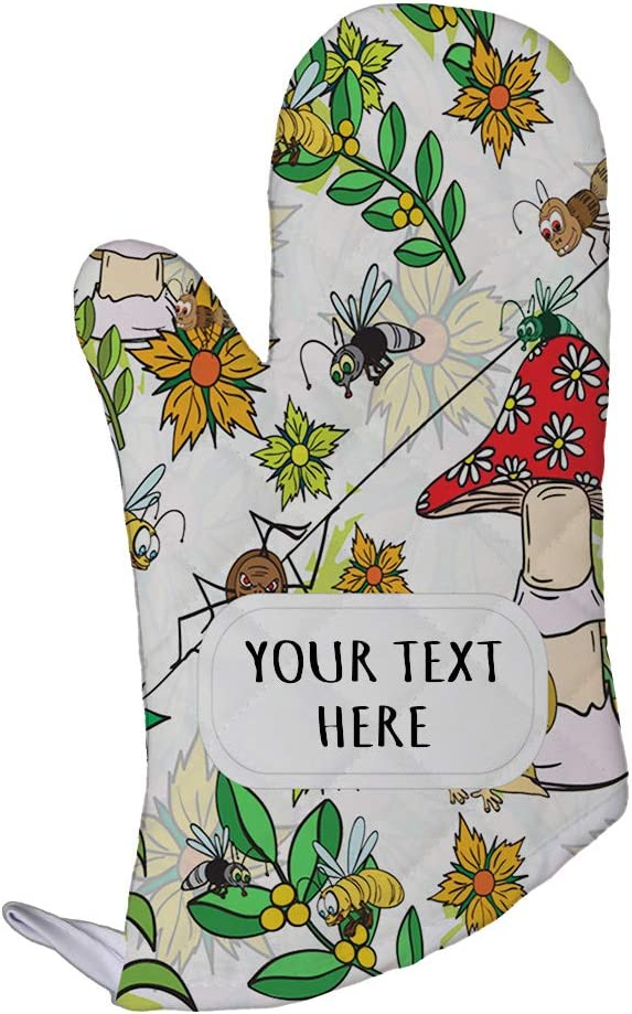 Polyester Oven Mitt Custom Flowers Insect Mushroom Seemless Pattern Adults Kitchen Mittens