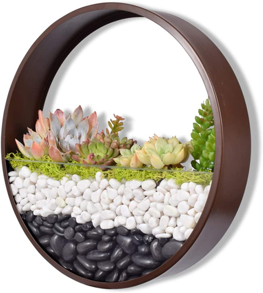 Ecosides Wall Planters Metal Art Hanging Flower Vase Round Iron Hanging Basket Solid Color Wall Planter Decor Adornment Bonsai Creative Indoor Potsterrarium Planter Flowers Boxes Brown Large 12 Amazon Co Uk Garden Outdoors