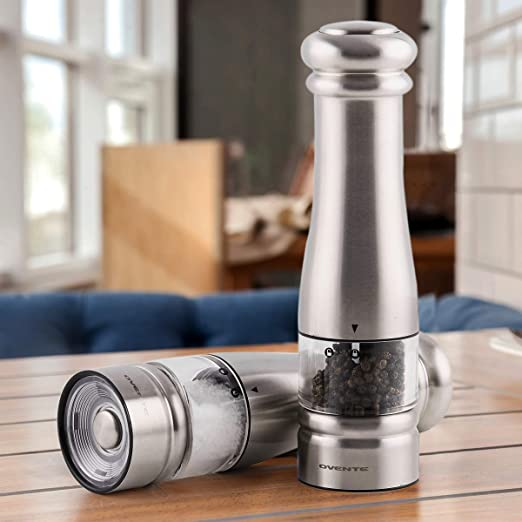 Ceramic Blades 6 AA Battery Operated Silver SPD132S OVENTE Electric Pepper Mill Grinder Set Stainless Steel