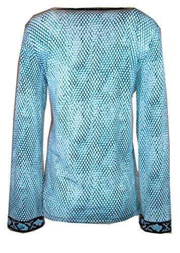 Michael Michael Kors Border Print V-neck Tunic, Tile Blue, Size-L (L)
