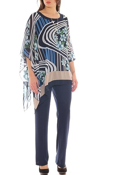 f491224e781d Perla Oversize Completo donna caftano fantasia e pantalone palazzo taglia  morbida  Amazon.it  Abbigliamento