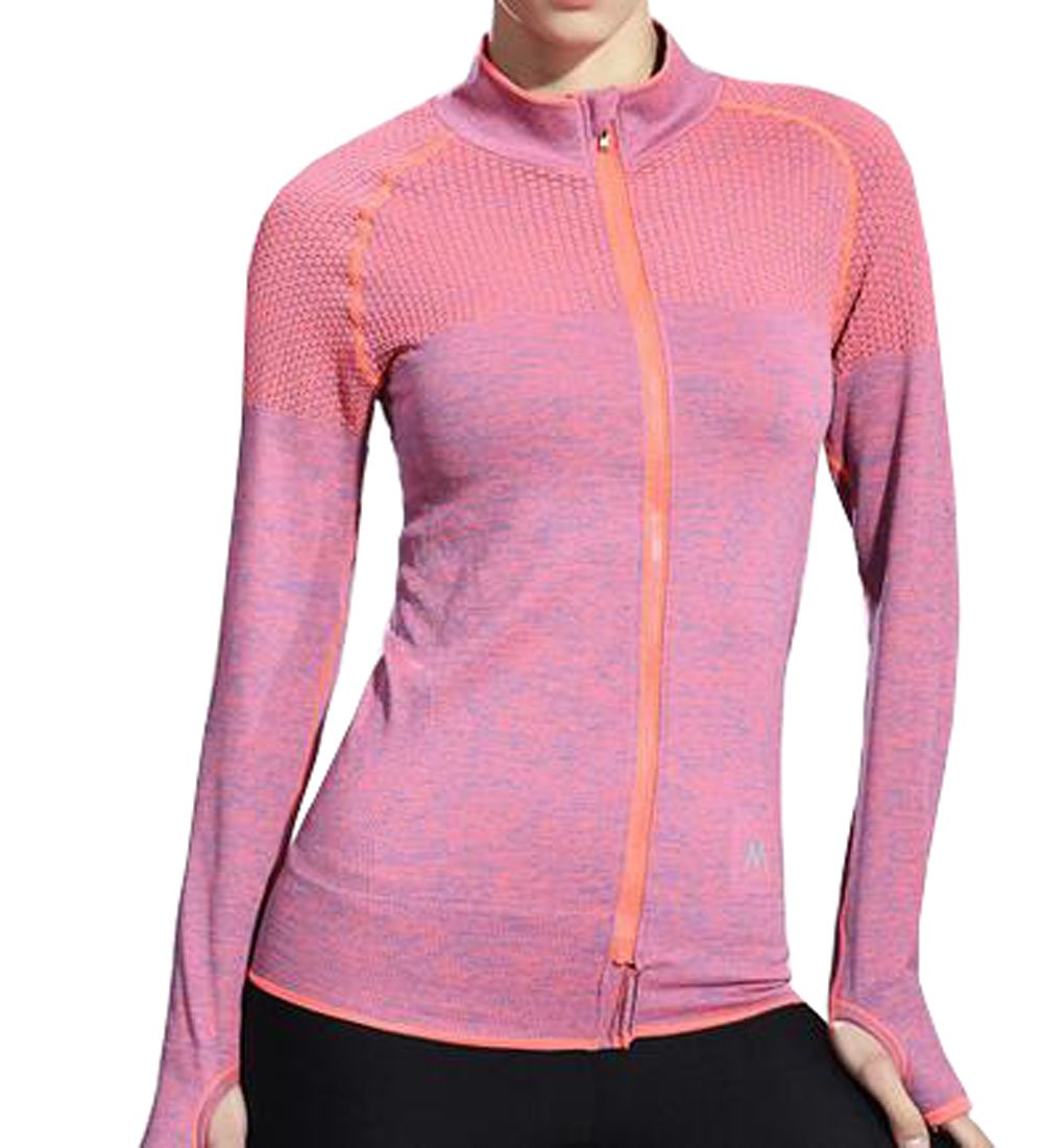 VOGUE CODE Zip-up Quick Dry Yoga Clothes High Elasticity Outwear Sweat Absorption T-shirt (M, orange) by VOGUE CODE