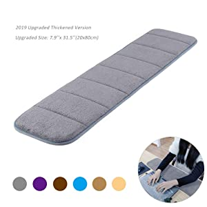 Upgraded Computer Wrist Elbow Pad, Creatiee Premium Memory Cotton Desktop Keyboard Arm Rest Support Mat for Office Desktop Working Gaming - Less Elbow Pain(Long-Sized, 7.9 x 31.5 inch)(Gray)