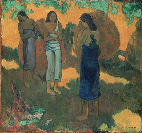 [Oil Painting 'Gauguin, Paul_1899_Three Tahitian Women Against A Yellow Background' 8 x 9 inch / 20 x 22 cm , on High Definition HD canvas prints, gifts for Dining Room, Home Office And Kitchen] (Lake Forest Halloween Costumes)