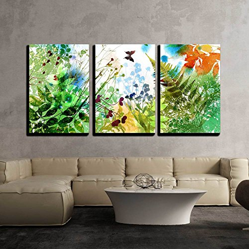 "Wall26 - 3 Piece Canvas Wall Art - Floral Spring and Summer Design, Watercolor Painting - Modern Home Decor Stretched and Framed Ready to Hang - 24""x36""x3 Panels"