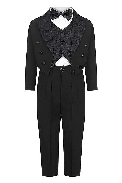 Esmoquin Para Niños Negro 5 piezas traje de boda formal elegante ...