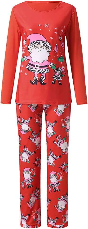 YunZyun 2 Piece Christmas Pajama Sets Matching Family Cartoon Pjs Sleepwear