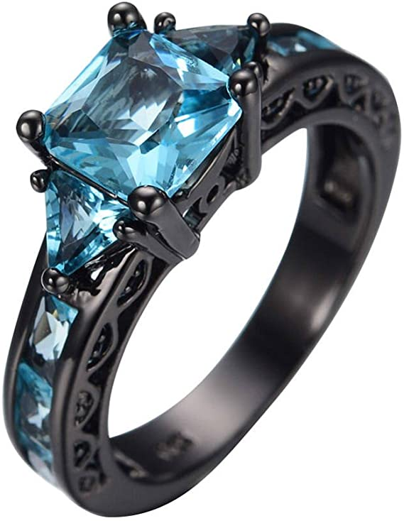 Amazon.com: Size 5-11 Princess Cut Aquamarine Band Women