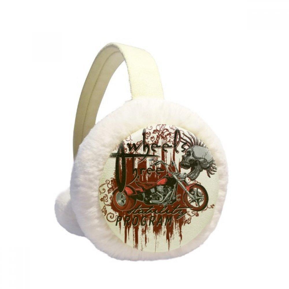 Graffiti Street Culture Bloody Skeleton Motor Winter Earmuffs Ear Warmers Faux Fur Foldable Plush Outdoor Gift