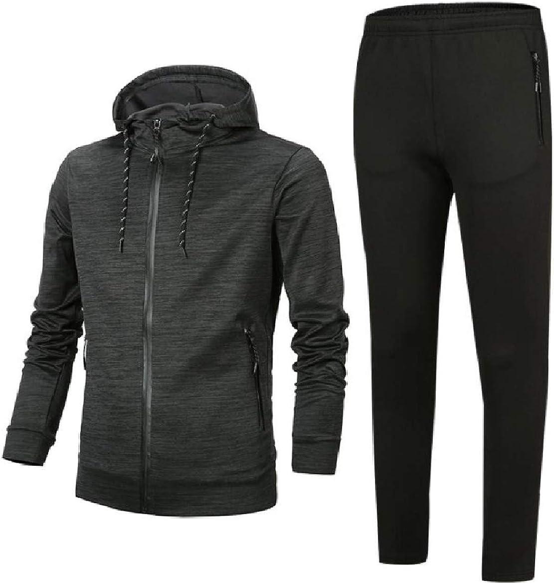 WillingStart Men Hooded Lounge Zips 2pcs Set Pockets Plus Size Sweatsuit