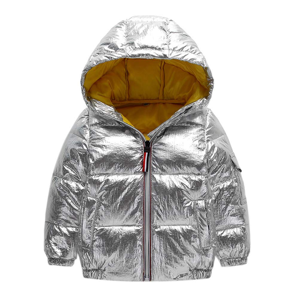 Jchen(TM) Fashion Infant Kids Little Girls Boys Winter Warm Jacket Hooded Windproof Outerwear Coat for 3-8 Y (Age: 3-4 Years Old, Silver)
