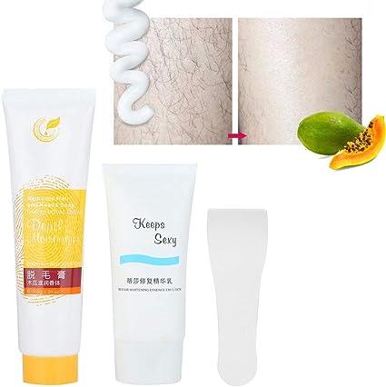Crema depilatoria para el cabello, crema depilatoria portátil adecuada para uso masculino y femenino en el pecho, espalda, hombros, removedor de cabello de brazos: Amazon.es: Belleza