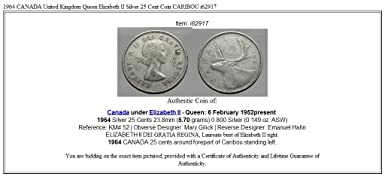 59911177be4 1964 CA 1964 CANADA United Kingdom Queen Elizabeth II AR coin Good at  Amazon s Collectible Coins Store