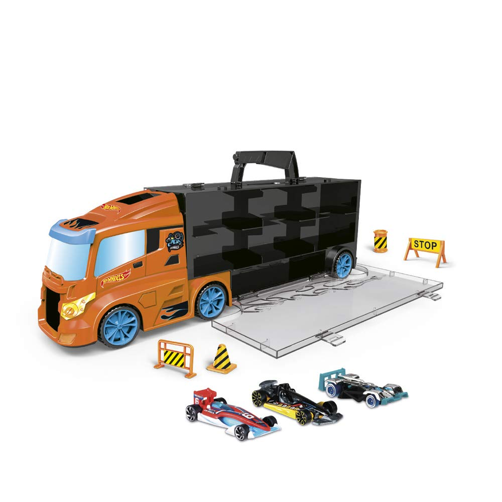 ODS 42033 Transporter 40 Hot Wheels Truck Case with Original Cars Included, Blue