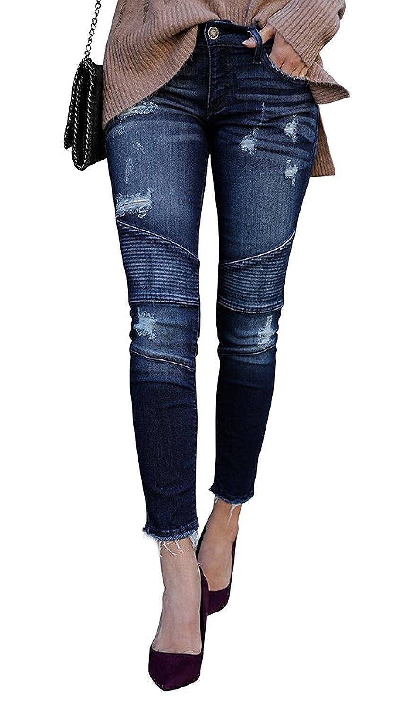 7 Encounter Kancan Women's Distressed Motto Denim Ankle Skinny Dark Wash KC208201SD Size 9