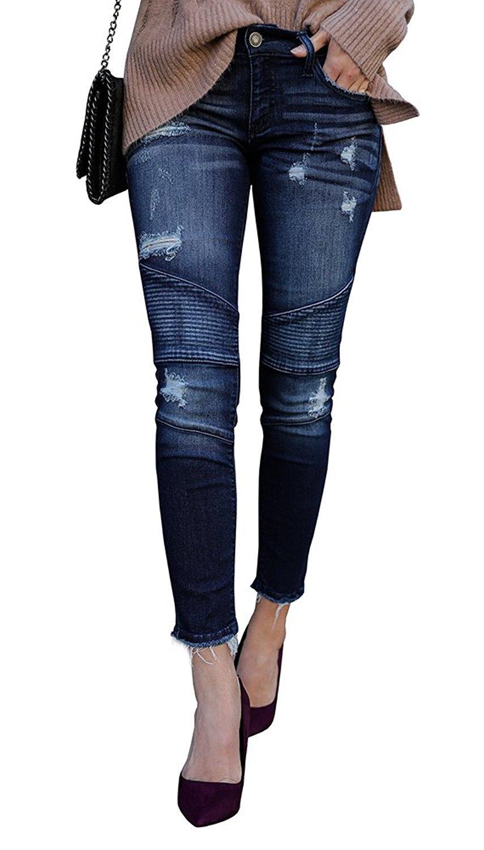 Kancan Women's Distressed Motto Denim Ankle Skinny Dark Wash KC208201SD Size 0