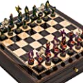 Hand Painted Fantasy Chessmen & Seventh Avenue Maple & Walnut Chess Board/Cabinet with Two Drawers