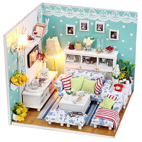 Miniature Cast Iron Stove (S Kaiko Wood Dollhouse with Furniture Mini House Handmade DIY Dollhouse Kit Dollhouse Miniature Living Room with LED Light Dollhouse Furniture Set for Gift)