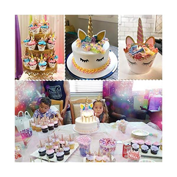 Unicorn Cake Topper with Eyelashes and Unicorn Cupcake Toppers & Wrappers Set - Unicorn Party Decorations Kit for… 6