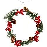 Hotchoice 28cm クリスマスデコレーションリース 壁掛け レッドフルーツパインコーンコーンパインニードル装飾 ドア ハンギングリース レッドフルーツパインコーン飾り