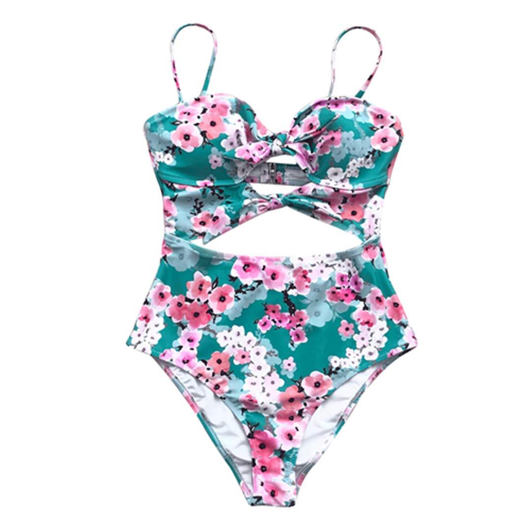 OP/&BKN Print Bowknot One-Piece Swimsuit Cutout Monokini Bathing Suits Boho Swimwear