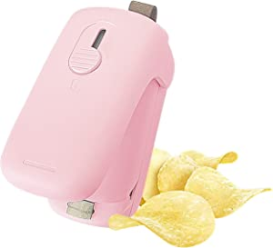 STRINO Mini Household Sealer, Handheld Pouch-type Heat Vacuum Sealer, 2 in 1 Sealer and Paper Cutter, Portable Pouch Sealer, Food Preserver for Plastic Bags (Hot Pink)