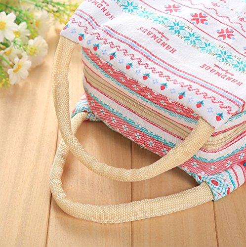 de almuerzo almuerzo correa Portátil las lona aisladas bolsas de Bolsa con caja de hombres rojo patrón portátil Almuerzo mujeres Kanggest Pequeño floral Xq7Px4wA