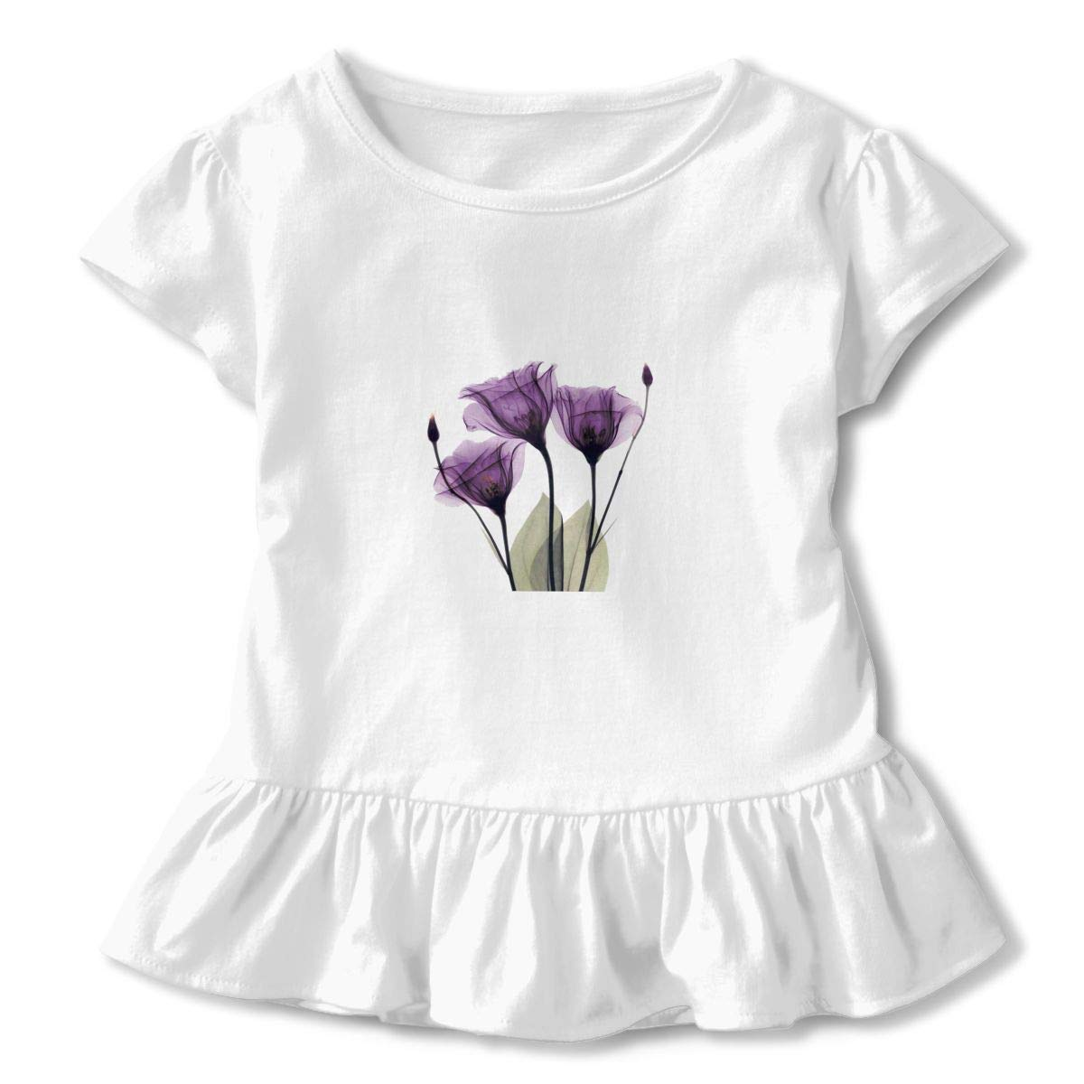 Elegant Tulip Purple Flower Cute Toddler Kids Girls Short Sleeves Shirts with Ruffles and O-Neck Printed Patterns in Front for Daily Wear Theme Party School