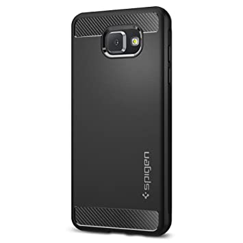 competitive price 2c64c 9a50e Samsung Galaxy A5 2016 Case, Spigen [Rugged Armor] [Black] Original Carbon  Fiber Design Flexible TPU Resilient Shock Absorption and Case Cover for ...