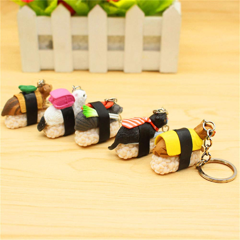 Lincong Porte-cl/és Mignon Dessin anim/é Sushi Chat Japonais Figurine Quick Release Amovible Porte-cl/és Couleur al/éatoire