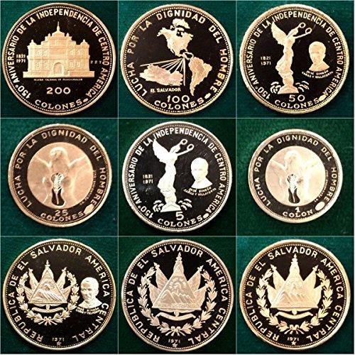 unknown 1971 1971 Republica De El Salvador Gold Silver Set 6 C Good