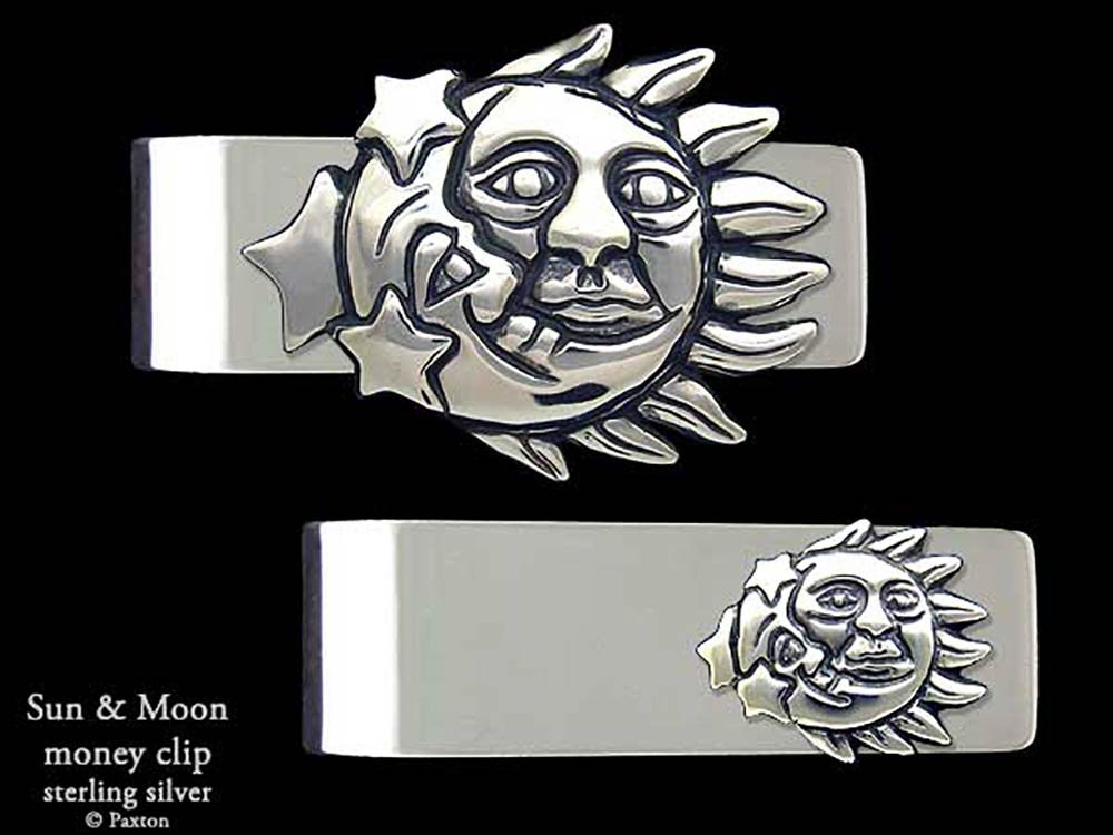 Sun Moon Money Clip in Solid Sterling Silver Hand Carved, Cast & Fabricated by Paxton