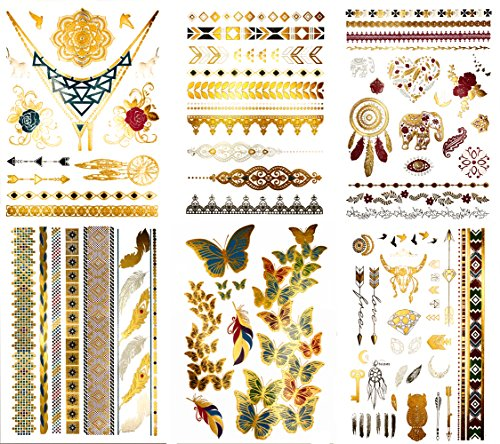 Premium Colored Metallic Henna & Boho Tattoos - 75+ Yoga-Inspired Temporary Shimmer Jewelry Tattoos - Designs in Gold, Silver, Pink, Turquoise, Green (Kendra (Tribal Print Tattoos)