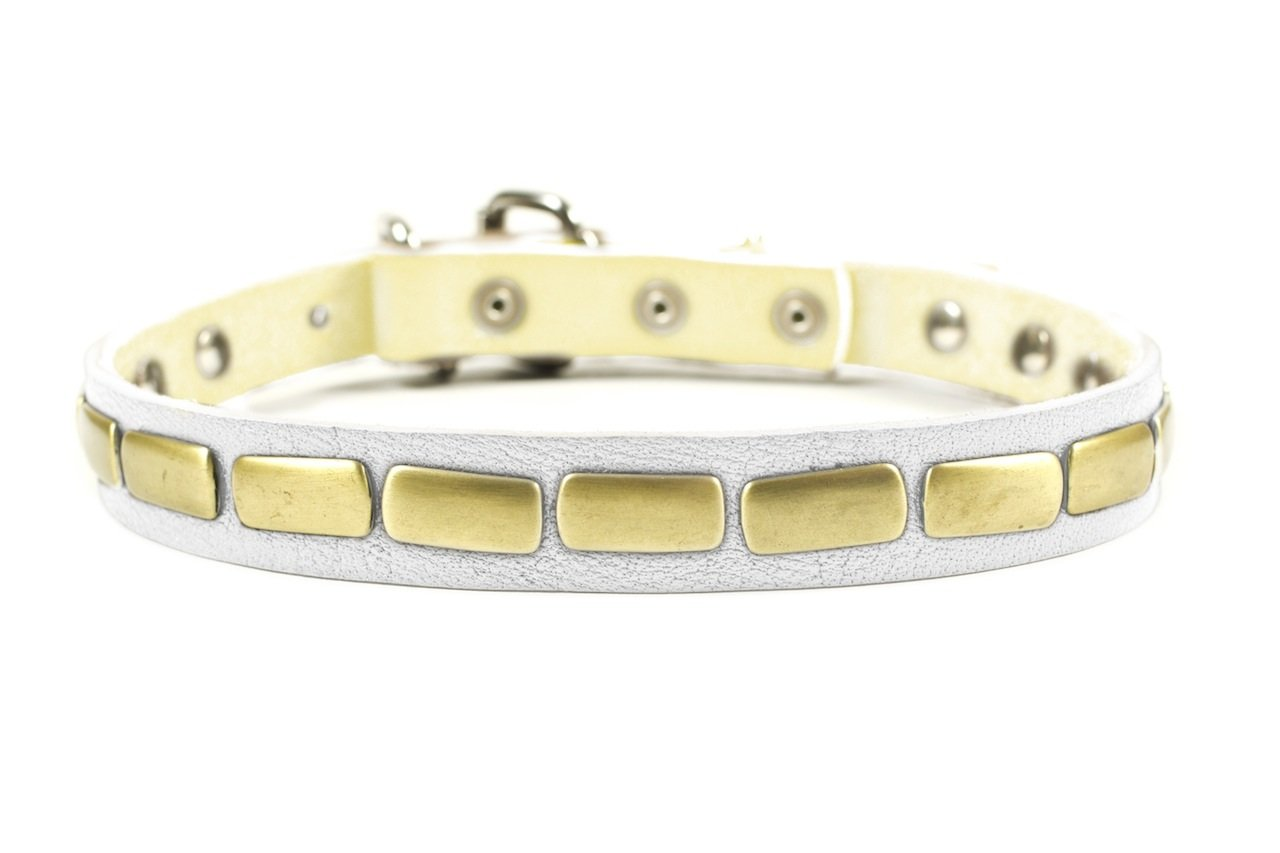 Dean & Tyler  Plated Beauty Leather Dog Collar with Attractive Antiqued Plates, 16 by 1-Inch, Fits Neck 14 to 18-Inch, White