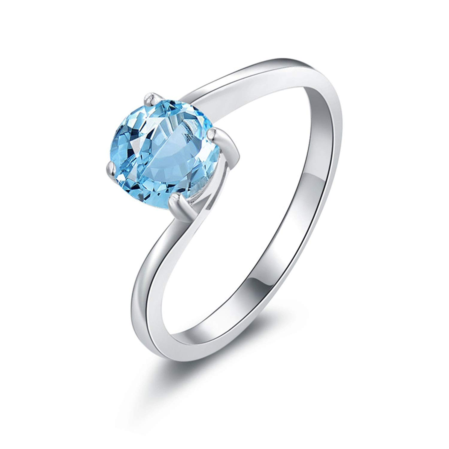 AMDXD 925 Silver Engagement Ring for Women Round Cut Topaz Round Rings