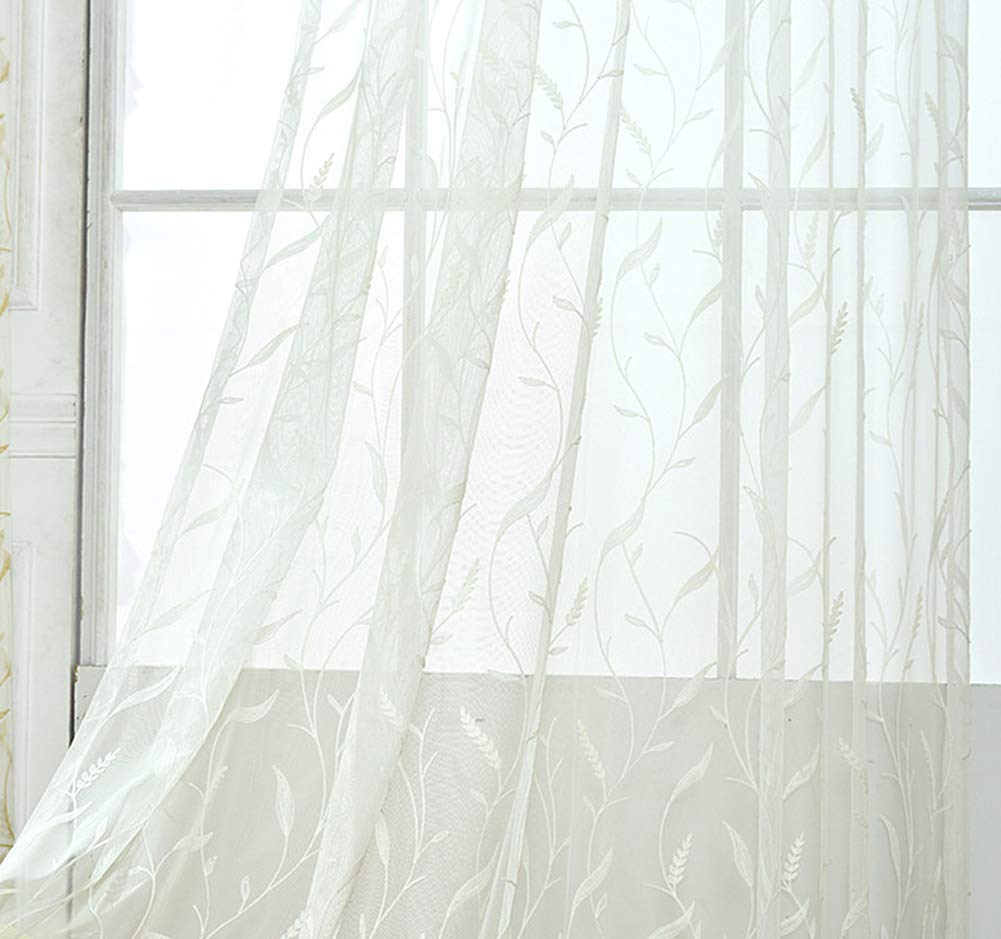 Aside Bside Home Treatment Voile Panels Rod Pockets Rural Style Wheat Embroidered Sheer Curtains Kitchen Child Room Houseroom (1 Panel, W 52 x L 63 inch, White)