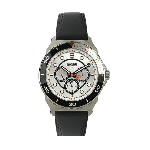 Racer Reloj Cronógrafo para Hombre de Cuarzo con Correa en Cuero P010: Amazon.es: Relojes